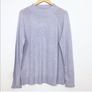 LOFT Lavender Ruffle Cuff Mock Neck Sweater Large